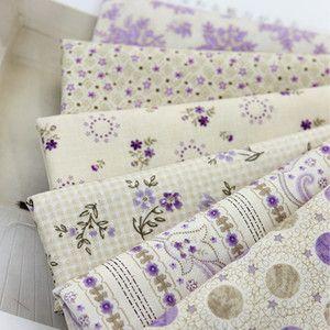 Retro Purple 6 Different Kinds Quilt Fabric Bundle