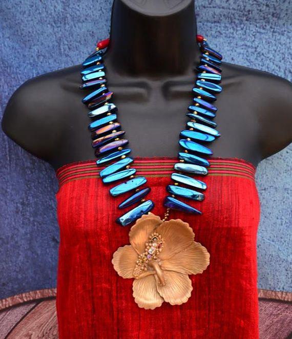Hibiscus pendant Quartz needles Bronze pendant UK listing