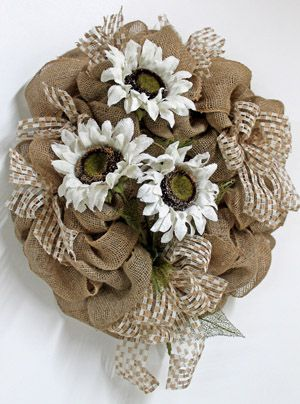 Burlap Sunflowers, Primitive Country Wreath- hmmm with red flowers and turq. ribbon stuck in there...where could we use this?