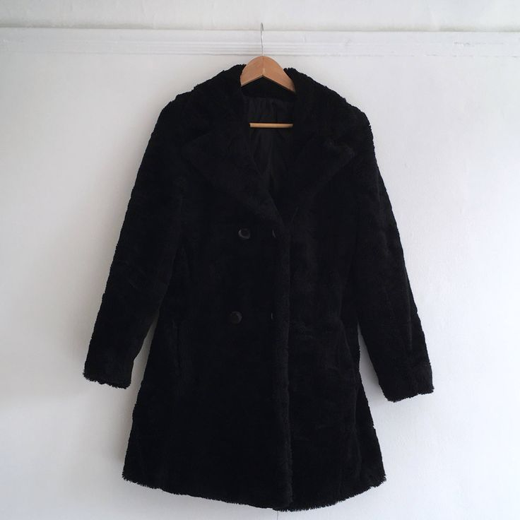 Vintage black teddy bear coat. Women's size S. UK size 8.