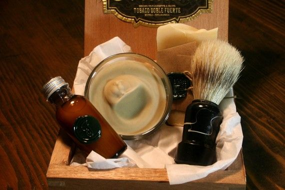 adorable eco-friendly mens shaving kit packaged in a vintage cigar box, from orange fuzz