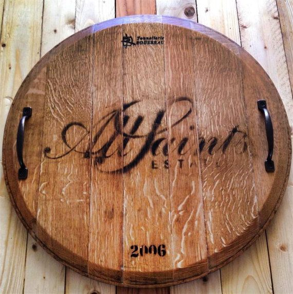French American Oak Rustic Wine Barrel Top Lazy Susan