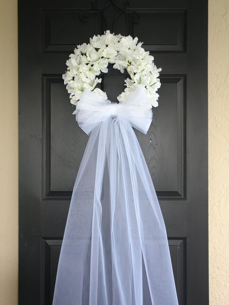 Wedding wreath-spring wreath-front door wreaths-outdoors white ivory veil wreaths country french weddings, decor
