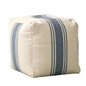 Blue Stripe Pouf