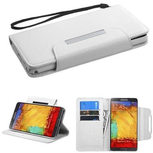 Book-Style Flip Stand Wallet Galaxy Note 3 Case - White
