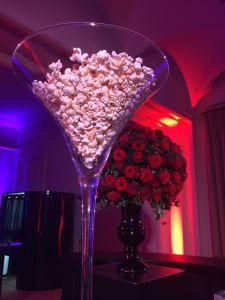 Popcorn in Giant Martini Glasses