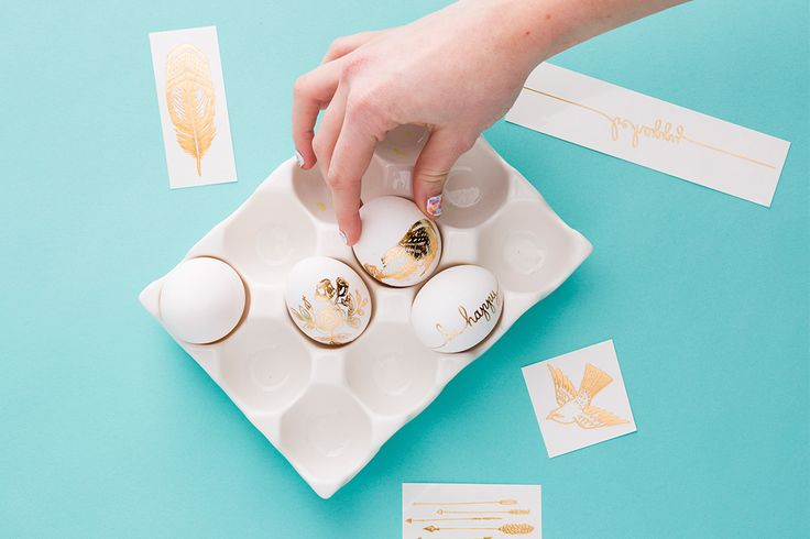 Use gold tatts to create these luxe Easter eggs.