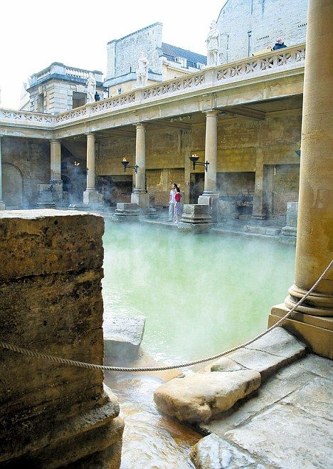 Mineral wealth: Bath's hot springs still supply the historic Roman bathing complex, Bath, England