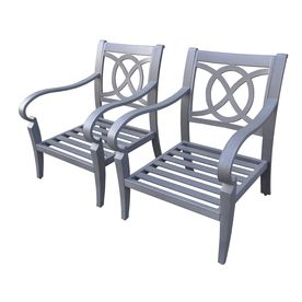 allen   roth�Set of 2 Newstead Grey Textured Aluminum Slat Seat Patio Chairs
