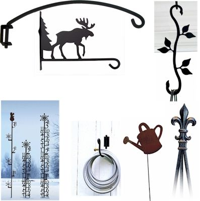 Wrought Iron Garden Stakes, Plant Hangers, Hose Holders and Tripod Trellises for your home and garden.