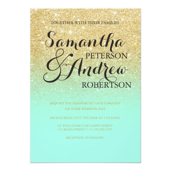 Chic faux gold glitter mint green wedding card