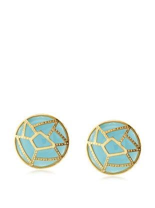 65% OFF Saachi Green Medallion Cutout Stud Earrings