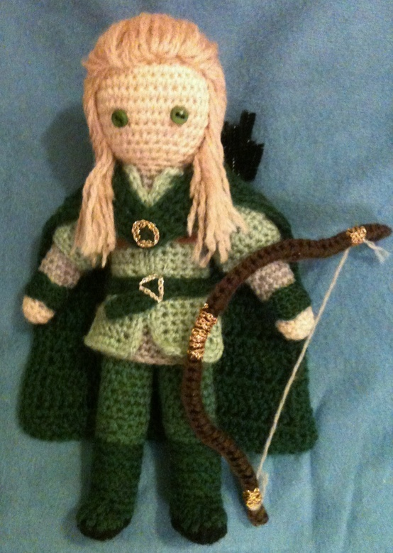 """Amigurumi version of Legolas from """"Lord of the Rings"""". @Jess Liu Carnrike, this is all you"""