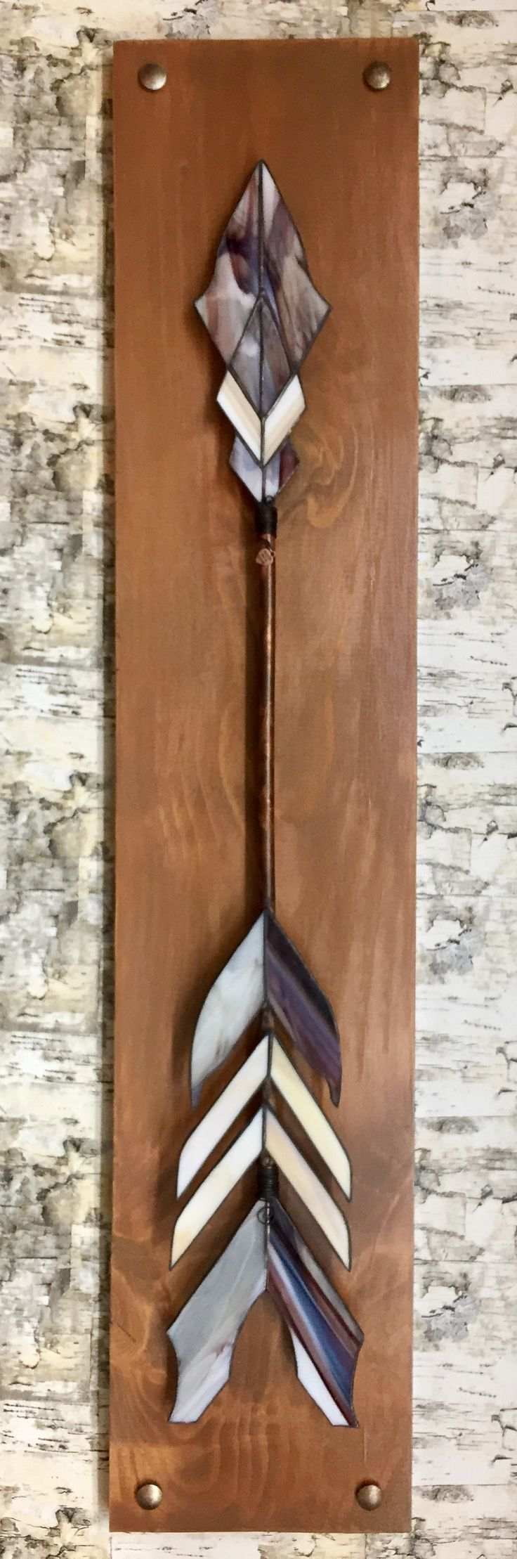 Stained glass arrow, copper foil, reclaimed wood, arrow wall art (sheila.szilagyi@gmail.com)