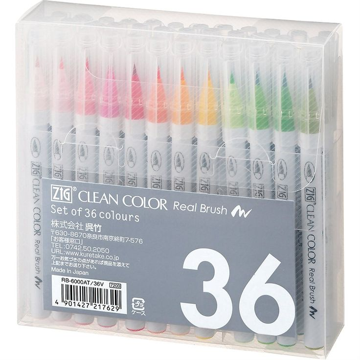 Amazon.com : Kuretake Fude Real Brush Pen, Clean Color, 36 Set (RB-6000AT/36V) : Artists Markers : Office Products