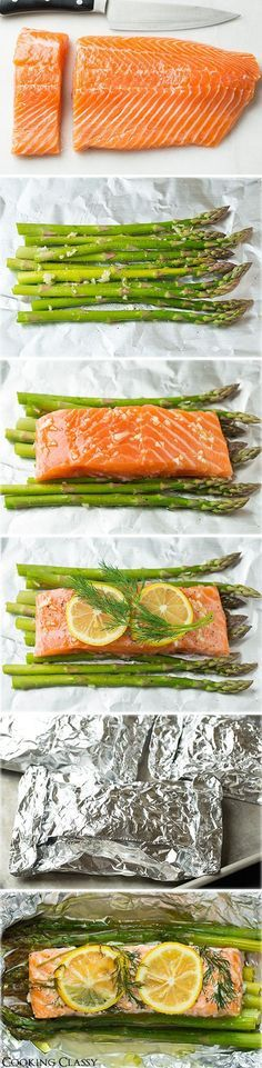 "Salmon Recipes Healthy ♥ Salmon Recipes Easy  Baked Salmon and Asparagus in Foil  ""- this is one of the easiest dinners ever, it tastes amazing, it's perfectly healthy and clean up is a breeze! ""  4 (6 oz) skinless salmon fillets - Wild caught 1 lb asparagus, tough ends trimmed 2 1/2 Tbsp olive oil 2 cloves garlic, minced Salt and freshly ground black pepper 1 lemon thinly sliced Fresh dill sprigs, or chopped fresh thyme, rosemary or pasley"