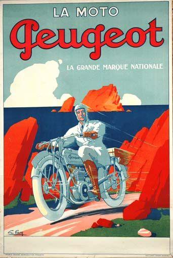 Moto Peugeot - Affiche 1920