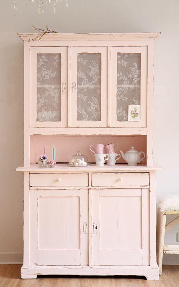 Vintage Buffets - Küchenbuffet, Küchenschrank in zartrosa - ein Designerstück von bleuetrose bei DaWanda