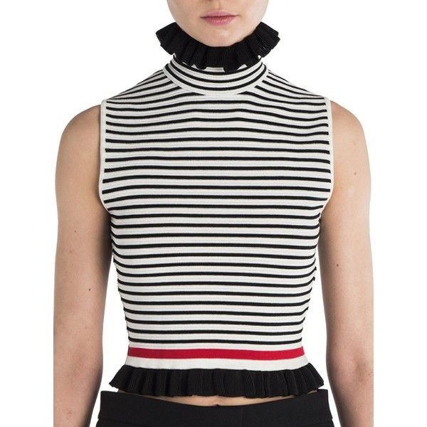 MSGM Ruffled Striped Tee ($252) ❤ liked on Polyvore featuring tops, t-shirts, contemporary sp - workshop, turtleneck t shirt, striped t shirt, white striped t shirt, white stripes t shirt and white t shirt