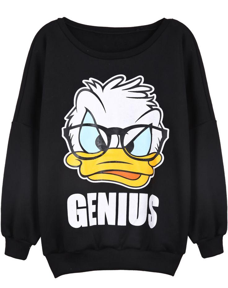 Black Long Sleeve Donald Duck Print Sweatshirt