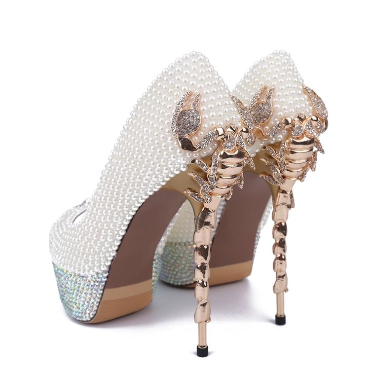 Awesome Pearl Back Scorpion Appliqued Bridal Shoes