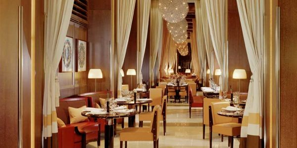 restaurant at the dorchester hotel london  It's change a lot since I ate here.  Anton Mosimann was head chef.  My date and I had the menu surprise, which was absolutely wonderful.  The beet consomme was heavenly and the most exquisite shade of magenta.