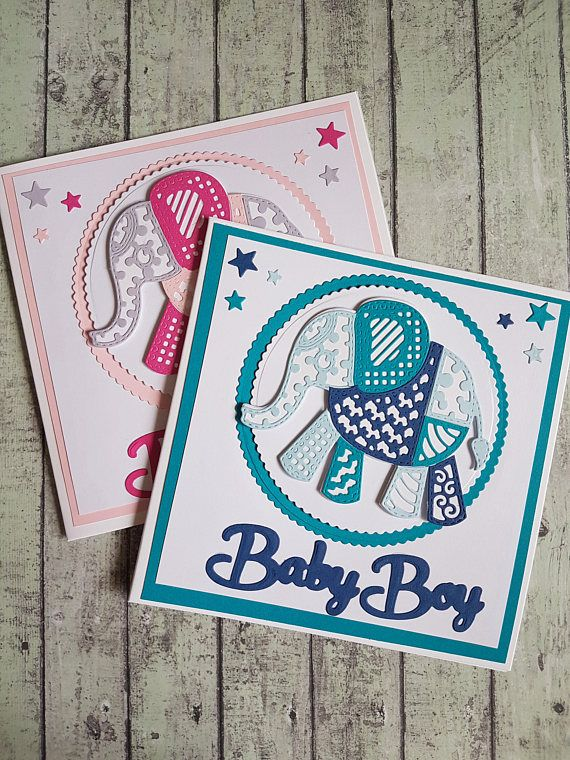 Patchwork elephant new baby handmade card/ Ginger Ninja Craft Shop / Tattered Lace