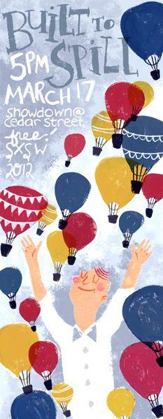 Built To Spill by Caitlin Alexander: Bunnies Kiss, Alexander Posters, Art It, Caitlin Alexander, Posters Illustrations, Illustrations Balloon, Art Art, Balloon Typography, Alexander Bunnies