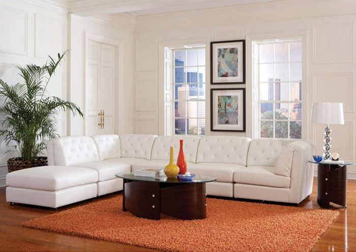 lowest price online on all coaster quinn modular leather sectional sofa in white