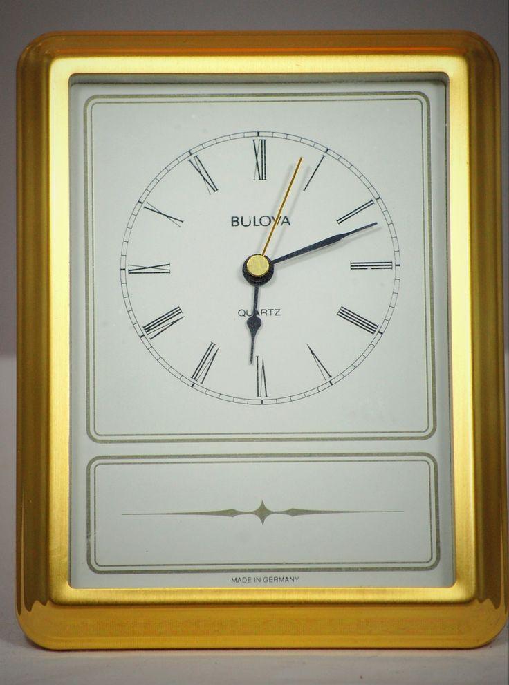 Bulova Quartz Brass Desk Clock Made In Germany Clocks