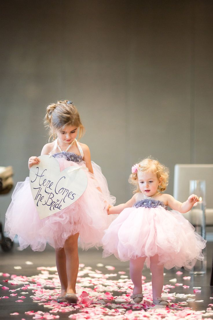 Little puffs of sweetness! Flower Girls. See the wedding on #SMP here:  http://www.StyleMePretty.com/canada-weddings/2014/04/10/baking-themed-wedding-in-toronto/ Photography: Rhythm-Photography.com