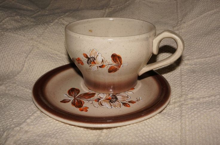 Eglantine Large Cup and Saucer Brown Flower - Faience de St Amand France