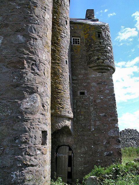 Inchdrewer Castle with original doorway. Aberdeenshire, Banff, Scotland.