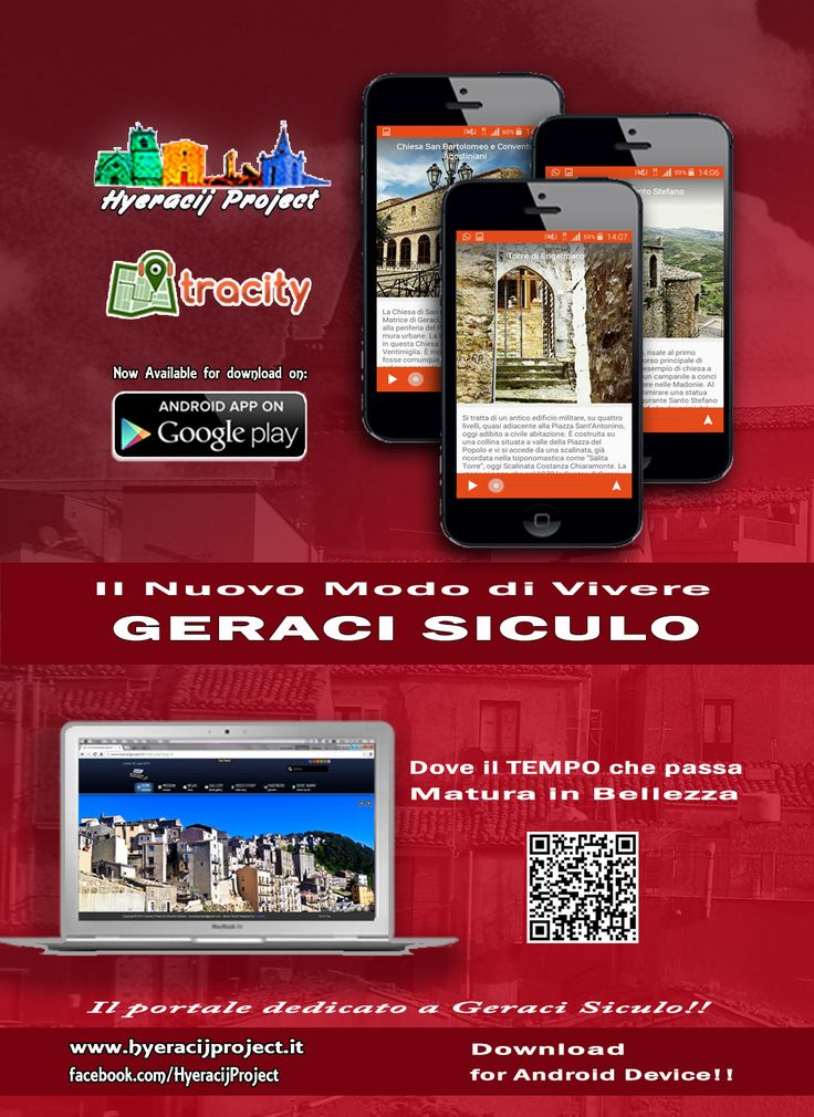 #TraCity il nuovo modo di VIVERE #GeraciSiculo. Scarica l'App Gratuita per i dispositivi #Android. Il portale ufficiale del progetto 👉 www.hyeracijproject.it 📷 Google+ 👉 http://bit.ly/2dt1YXk 📷 Instagram 👉 https://www.instagram.com/hyeracijproject/ 📷 Twitter 👉 https://twitter.com/HyeracijProject 🎥 Youtube 👉 https://www.youtube.com/user/giacomo976 📷 Pinterest 👉 https://it.pinterest.com/hyeracijproject/ 📷 Flickr 👉 http://bit.ly/2duS5bm Partners ufficiale delll'App Gratuita per