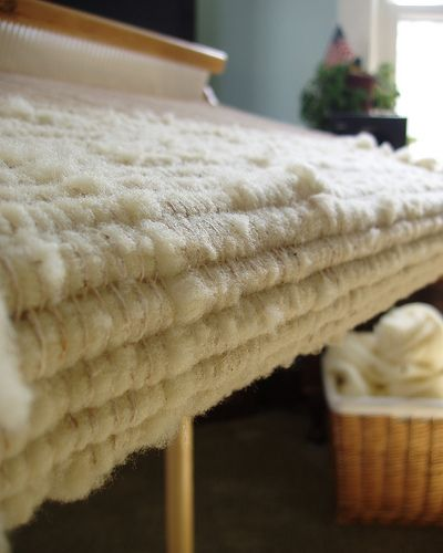 Woven Rug - using roving for weft