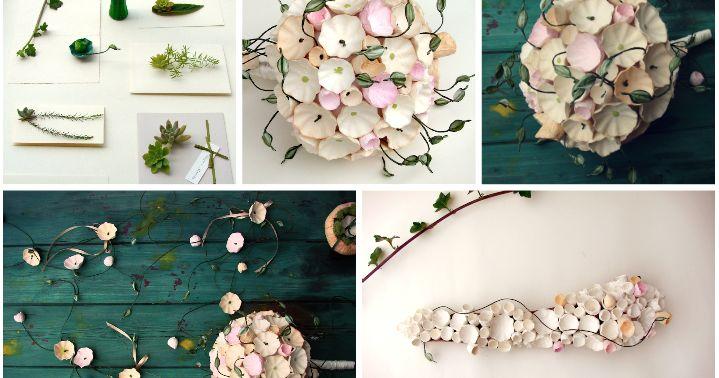 Eco wedding design : Idee per un Matrimonio Green in stile organico botanico con i fiori di carta. Green wedding botanical style , paper bouquet..