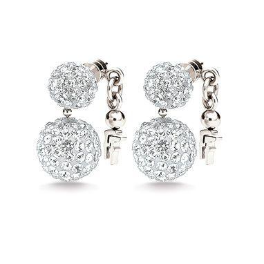 Folli Follies Bling Chic Earrings in Silver worn by Gaynor Faye.