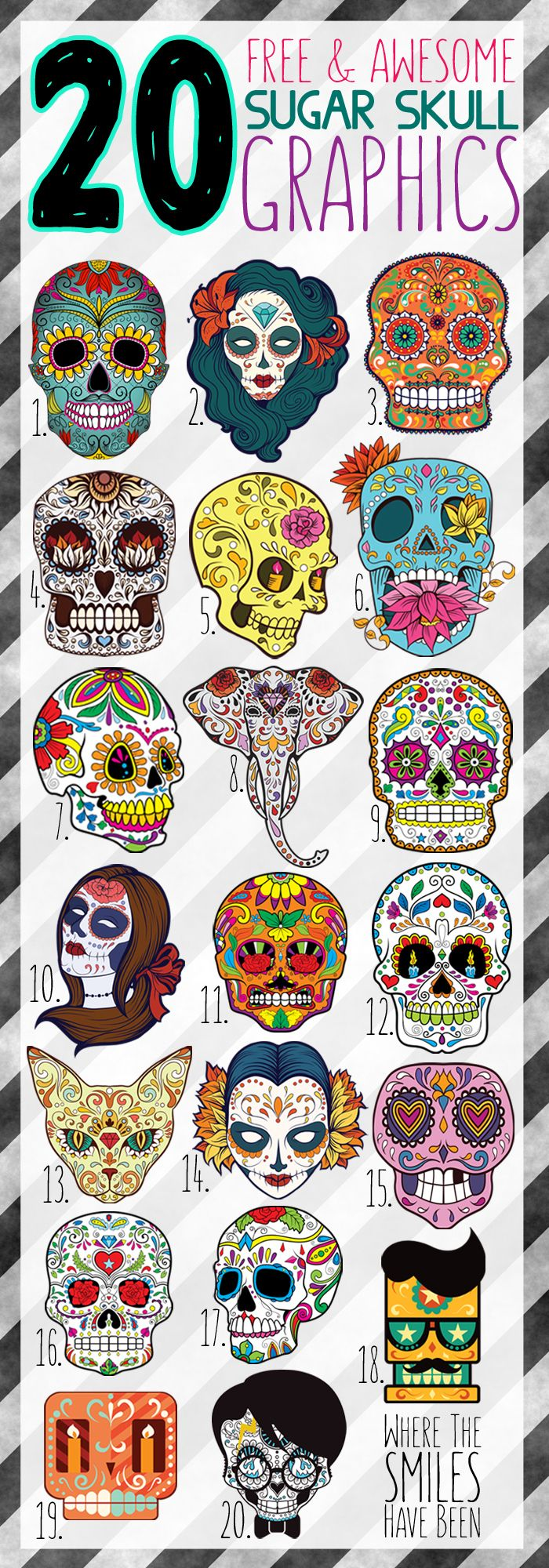 20 Free & Awesome Sugar Skull Graphics! | Where The Smiles Have Been. Pinned for inspiration only.