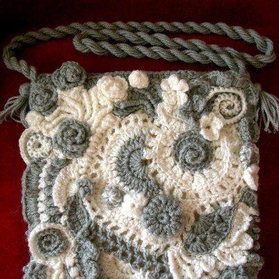 Freeform crochet handbag ~ Garnzauber FB page