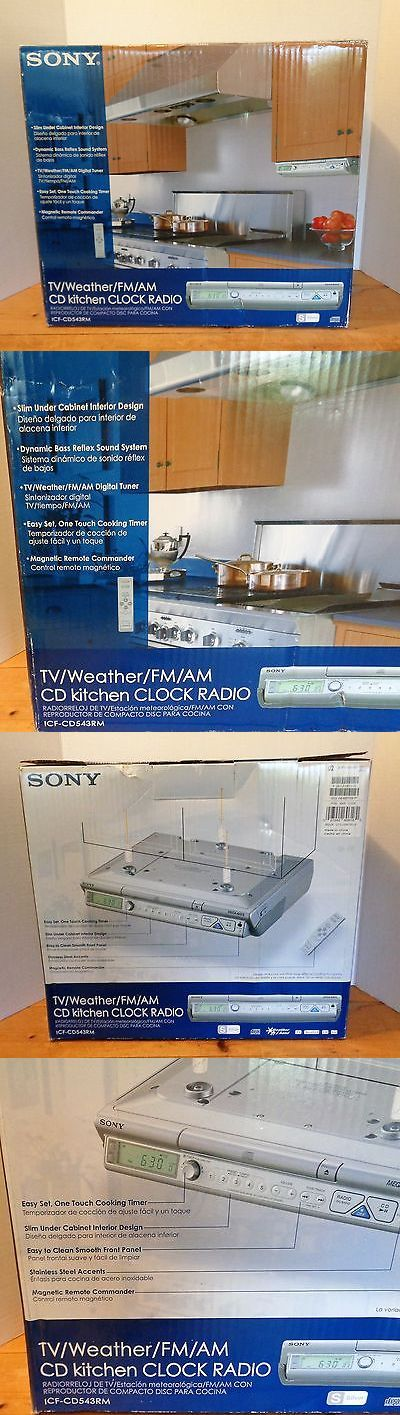 CD Players and Recorders: Sony Icf-Cd543rm Fm/Am/Cd/Tv/Weather Under Cabinet Kitchen Clock Radio New! BUY IT NOW ONLY: $169.0