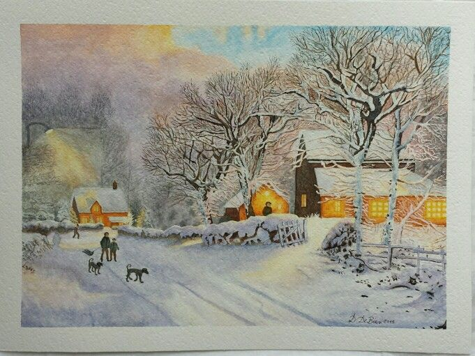 Cade la neve una magica atmosfera natalizia Acquerello su carta Fabriano 600 38 x 28