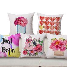 Livraison Gratuite Aquarelle fleurs Lin Coton Coussin Coeur Décor À La Maison Oreiller Décoratif Canapé Coussins Pillowsham(China)