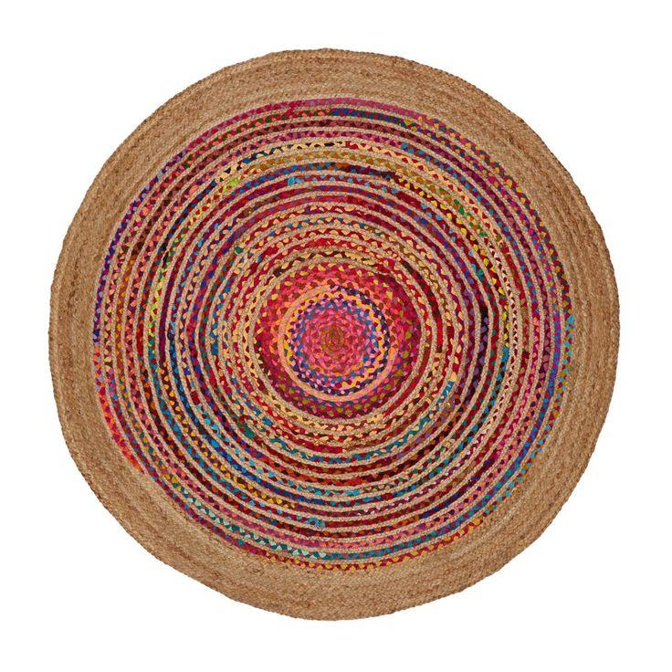 Teppich, Flicken-Look, Handarbeit, Boho-Style, Jute, Chindi, rund