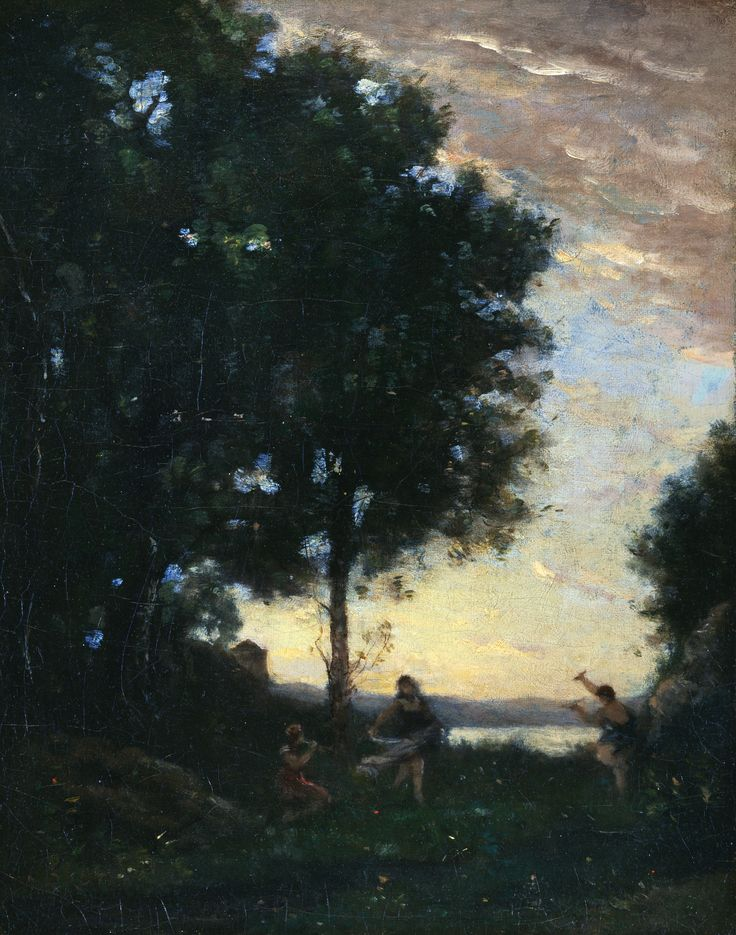 Jean Baptiste Camille Corot (1796-1875), Faunes et nymphes dansant (Fauns and Nymphs Dancing) Oil on canvas 41.5 x 33 cm (16 5/16 x 13 in.) frame: 60.5 × 53.4 × 7.5 cm (23 13/16 × 21 × 2 15/16 in.) Gift of Julia C. Tinsman in memory of Charles Humbert Tinsman, Class of 1928 2000-291 Princeton University Art Museum