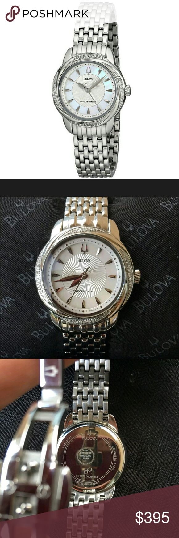 Nwt Bulova $650 Precisionist swirl watch Nwt Bulova Women's Precisionist Brightwater Swirl pattern Watch  PRICE  $395.00 . AUTHENTIC WATCH  . AUTHENTIC BOX  . AUTHENTIC MANUAL    SHIPPING  PLEASE ALLOW FEW BUSINESS DAYS FOR ME TO SHIPPED IT OFF.I HAVE TO GET IT FROM MY WAREHOUSE.   THANK YOU FOR YOUR UNDERSTANDING. Bulova  Accessories Watches