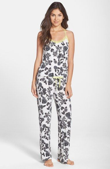 Free shipping and returns on PJ Salvage Lace Trim Print Jersey Pajamas (Nordstrom Exclusive) at Nordstrom.com. Lightweight pajamas made from incredibly soft stretch modal pair a lace-trimmed, T-back camisole and relaxed pants.
