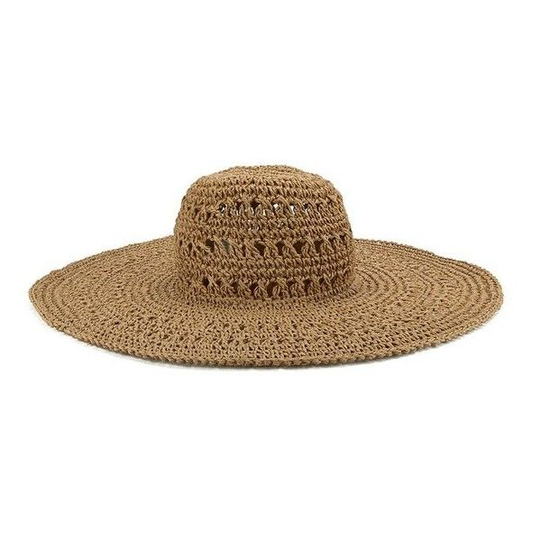French Connection Women's Signa Floppy Hat - Natural ($34) ❤ liked on Polyvore featuring accessories, hats, brown, floppy sun hat, summer hats, brown hat, paper hats and floppy summer hat