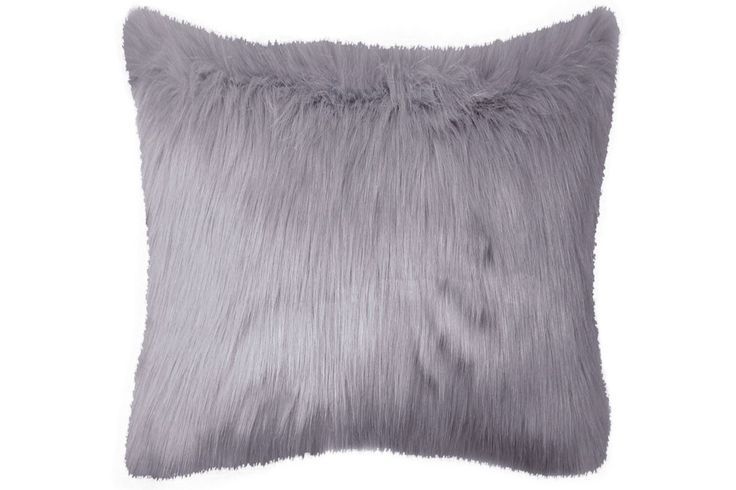 Sorbet Lilac Grey Pillow Faux Fur 100% Acrylic ALTHW-SOR-EY-TP-2424