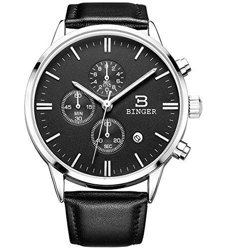 BINGER Date Multifunction Chronograph Watches For Men Online Stopwatch Black Leather Strap Luminous Hands - http://www.the-solar-shop.com/binger-date-multifunction-chronograph-watches-for-men-online-stopwatch-black-leather-strap-luminous-hands/