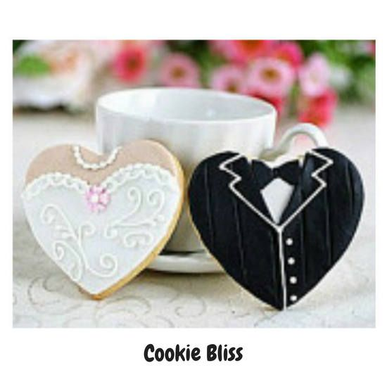 12 Bride & Groom Getting Married Decorated Sugar Cookies Baked